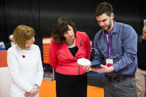Innovate UK CEO Ruth McKernan and Claire Perry MP, Minister of State at the Department for Business, Energy and Industrial Strategy, talk to Tamas Pal, Business Developer at Entropea Labs, at Innovate 2017 at the NEC, Birmingham, 8 November 2017.